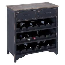 Distressed Wood Bar Cabinet Woodland Imports Cagliari Distressed Black Wood Wine Cabinet