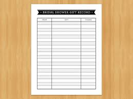 wedding gift lists printable bridal shower gift record list list of gifts received