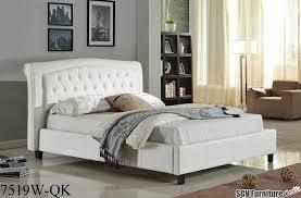 ca king size bed frame w tufted leather headboard u0026 footboard