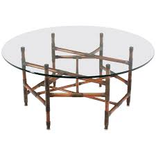 Glass Top Coffee Table With Metal Base Copper Pipe And Fitting Sculpture Base Round Glass Top Coffee