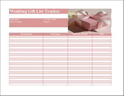 bridal gift record book ms excel wedding gift list template word excel templates