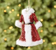 mrs claus dress ornament pottery barn