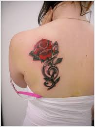 left back shoulder red flowers and crane tattoo