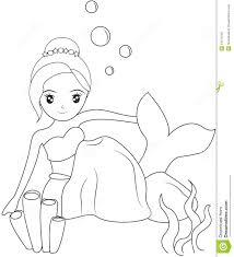 mermaid under the sea coloring page stock illustration image