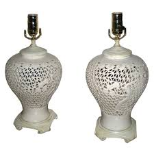 White Ceramic Table Lamps Pair Japanese White Ceramic Urn Table Lamps White Ceramics Urn