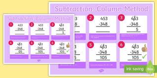subtraction column method 3 digit numbers poster subtraction
