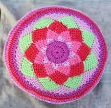 Pink Round Cushion Hooking Crazy Tunisian Entrelac Circle Cushion