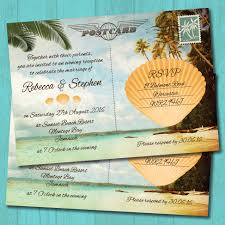palm tree beach postcard evening wedding invitation elisa by design