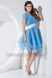 celebrity inspired short blue organza party dress cocktail