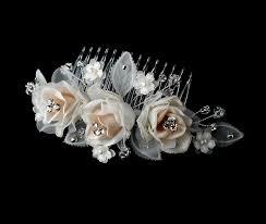 wedding hair combs comb 8418 ivory rum wedding hair flowers