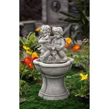 jeco inc resin fiberglass cherub water with led light