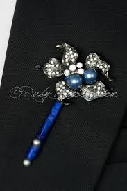 royal blue boutonniere royal blue deco pearl groom pin