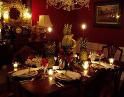 williamsburg table setting with apple tree centerpiece