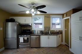 Ceiling Fans For Kitchens With Light Furniture Kitchen Cabinet Refacing In White Plus Oven And Frige