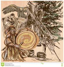 shaman bear and eagle an hand drawn vector picture line art i