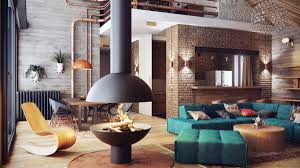 charming industrial style family room with fire pit and exposed