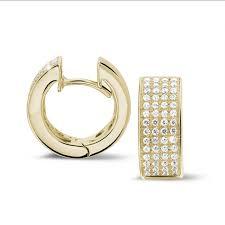 creole earrings yellow gold diamond earrings 0 75 carat diamond baunat
