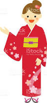 young woman wearing japanese traditional dress kimono stock vector