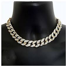 link choker necklace images Fashion gold plated finish iced out miami cuban link choker chain jpg