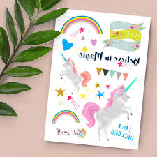 unicorn magic themed themed temporary tattoos by create yourself