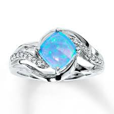 blue opal kay lab created blue opal lab created sapphire ring sterling silver