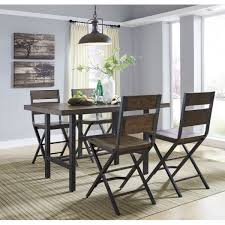 High Dining Room Tables Wood U0026 Metal Furnished 5 Piece Counter Height Dining Set