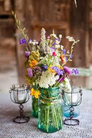 Mason Jars Wedding Centerpieces by Wildflowers In Blue Mason Jar Wedding Centerpiece Deer Pearl Flowers