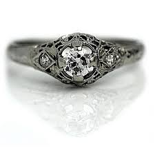 antique engagement ring one central diamond white gold art deco
