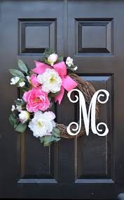 monogram peony spring wreath peony wreath door wreath monogram