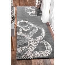 Overstock Com Rugs Runners Nuloom Handmade Octopus Tail Faux Silk Wool Grey Runner Rug 2 U00276