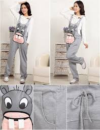 Comfortable Suspenders Autumn Fashion Hippo Printed Thickened Maternity Pants Pregnant