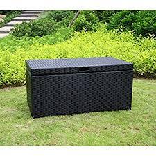 amazon com jeco wicker patio storage deck box in black outdoor