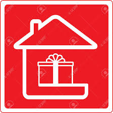 red icon with home holiday symbol and house silhouette royalty