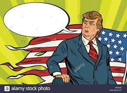 Vintage Flag Art President Donald Trump With Usa Flag Battlefield Comic Book