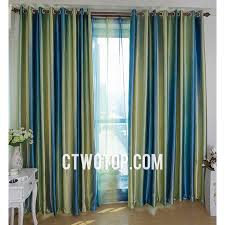 Green Grommet Curtains Modern Primitive Decorative Green And Royal Blue Striped Curtains