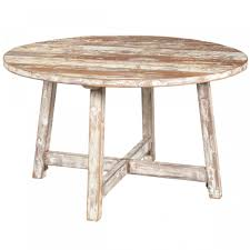 Reclaimed Round Dining Table by Shabby Brown White Wooden Table With Four Legs Also Crossed Foot