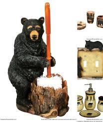 cute black bear bathroom accessories for a rustic cabin decor