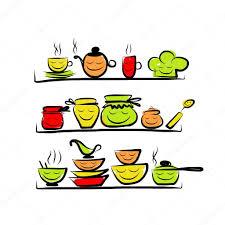 dessin ustensile de cuisine personnages d ustensiles de cuisine sur les étagères croquis