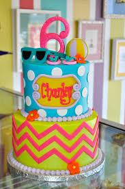 chevron pool party beach girly glitter birthday cake www