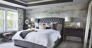 Tufted Headboard Bed Gray Velvet Tufted Headboard With Black Nightstands Transitional