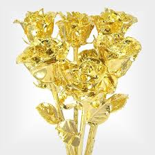 half dozen 18 real roses dipped in 24k gold is a