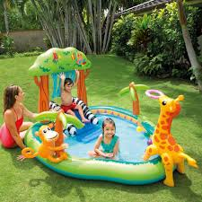 Intex Inflatable Pool Intex Inflatable Jungle Play Center With Water Slide And Sprayer
