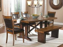 Dining Room Bench Sets 6 Piece Dining Table Set With Bench In Warm Brown Dining Room