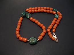 tibetan necklace images Old coral old tibetan turquoise christopher william sydney jpg