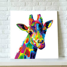 home decor giraffe colorful abstract giraffe painting hand painted canvas oil paintings