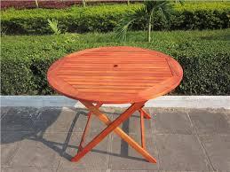Patio Furniture Round Folding Wood Patio Table