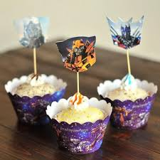 transformers party decorations transformers optimus prime cupcake wrappers toppers cake picks for