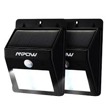 mpow solar powered wireless 8 led security motion sensor light