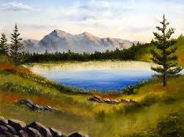 mountain painting mountain lake landscape oil painting by mark webster