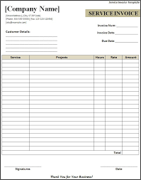 simple service invoice template example for professional or